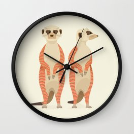 Whimsical Meerkats Wall Clock