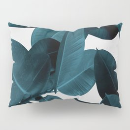 Indigo Blue Plant Leaves Pillow Sham