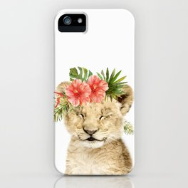 Baby Lion Cub with Flower Crown iPhone Case