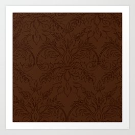 Dark Chocolate Damask Line Work Fleur de Lis Pattern Artwork Art Print
