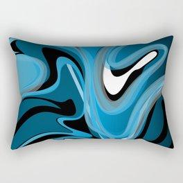 Liquify in Denim, Navy Blue, Black, White Rectangular Pillow