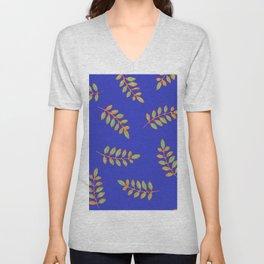 Honey Locust leaves in a primitive print on royal blue Unisex V-Neck