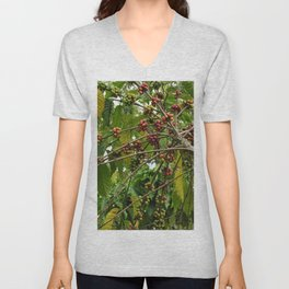 Coffee Plant Shrub Branches Coffee Berries Unisex V-Neck