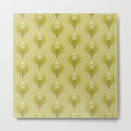 Light Green Floral Art Nouveau Inspired Pattern Metal Print