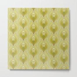 Light Green Floral Art Nouveau Inspired Pattern Metal Print