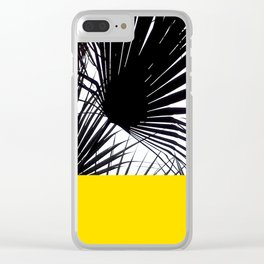 Black and White Tropical Palm Leaves on Sunny Yellow Clear iPhone Case