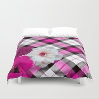 plaid Duvet Covers featuring Plaid+, pink by MehrFarbeimLeben