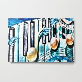 Deep Ellum Music Note Mural - Surreal Metal Print