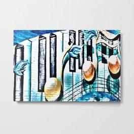 Deep Ellum Music Note Mural - Surreal Metal Print