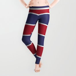 Large Red White and Blue USA Memorial Day Holiday Horizontal Cabana Stripes Leggings