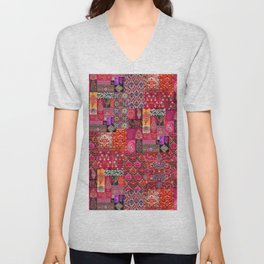 N98 - Traditional Heritage Boho Oriental Moroccan Collage Style. Unisex V-Neck