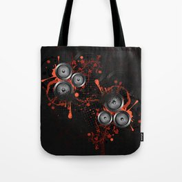 Loudspeaker with splatters and floral Tote Bag