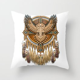 Native American-Style Great Horned Owl Mandala Throw Pillow