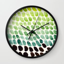 Colorful Watercolor Scales Rainbow Pattern Deep Green Lime Green Wall Clock
