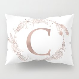 Letter C Rose Gold Pink Initial Monogram Pillow Sham
