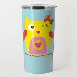 Cute Yellow Owl - Pink Flowers Illustration Travel Mug