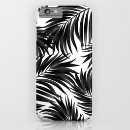 Palm Tree Fronds Black on White Maui Hawaii Tropical Graphic Design iPhone Case