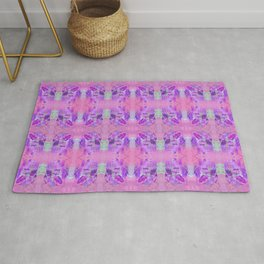 Boho Feather Zig Zag Collage | Watercolor Feather Art Print | Pink Purple Rug