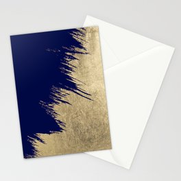 Navy blue abstract faux gold brushstrokes Stationery Cards