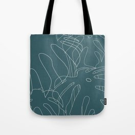 Monstera No2 Teal Tote Bag