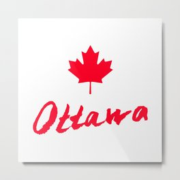 Ottawa Lettering. Hand drawn letters. Hand drawn greeting card with text Ottawa. Metal Print