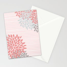 Floral and Stripes, Blush Pink, Coral, Aqua, Gray Stationery Cards