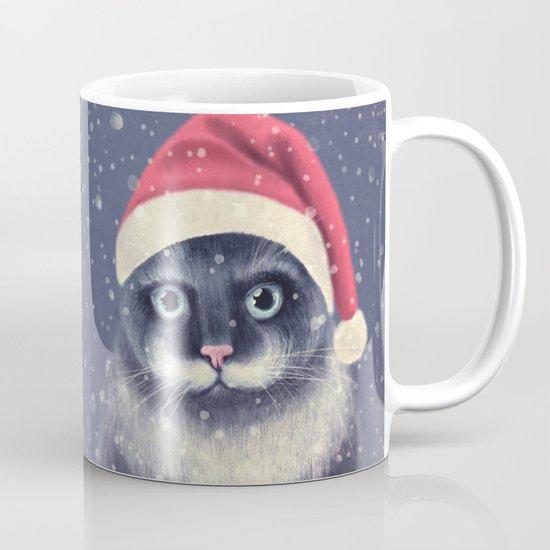 Christmas cat with a mustache Mug