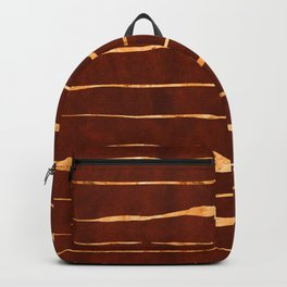 Red Earth Suede Leather and Gold Veins Design Backpack