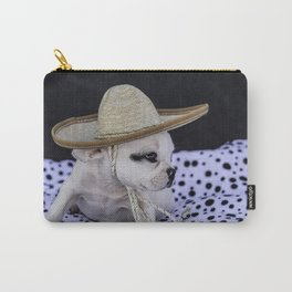Tiny White French Bulldog Puppy with Black Markings Wearing an Oversize Sombrero Hat Carry-All Pouch