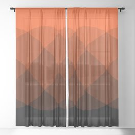 Orange to Black Ombre Signal Sheer Curtain