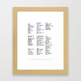 Radiohead Discography - Music in Colour Code Framed Art Print