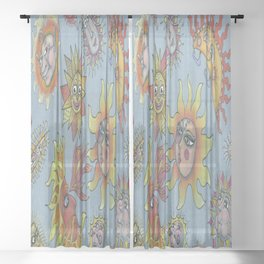 different fantasy sun faces, blue gray grey yellow orange red Sheer Curtain