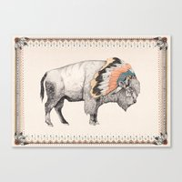 beast Canvas Prints featuring White Bison by Sandra Dieckmann