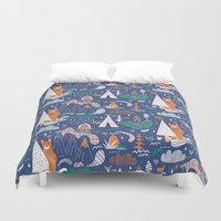 camp Duvet Covers featuring Bear camp by Demi Goutte