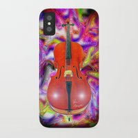 cello iPhone & iPod Cases featuring Psychedelic Cello by JT Digital Art