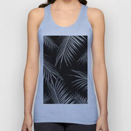 Silver Gray Black Palm Leaves Dream #1 #tropical #decor #art #society6 Unisex Tank Top
