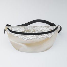 Bride lace - Luxury white floral elegant lace on cream silk fabric Fanny Pack