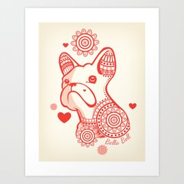 French Bull Dog Bella Bell Art Print