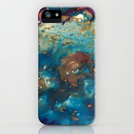 Très Céleste - abstract painting in deep blue, gold, aqua. fuschia and pearl iPhone Case