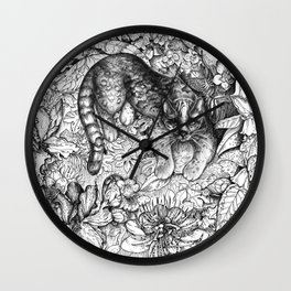 Tropical Wild Cat with Passiflora Wall Clock