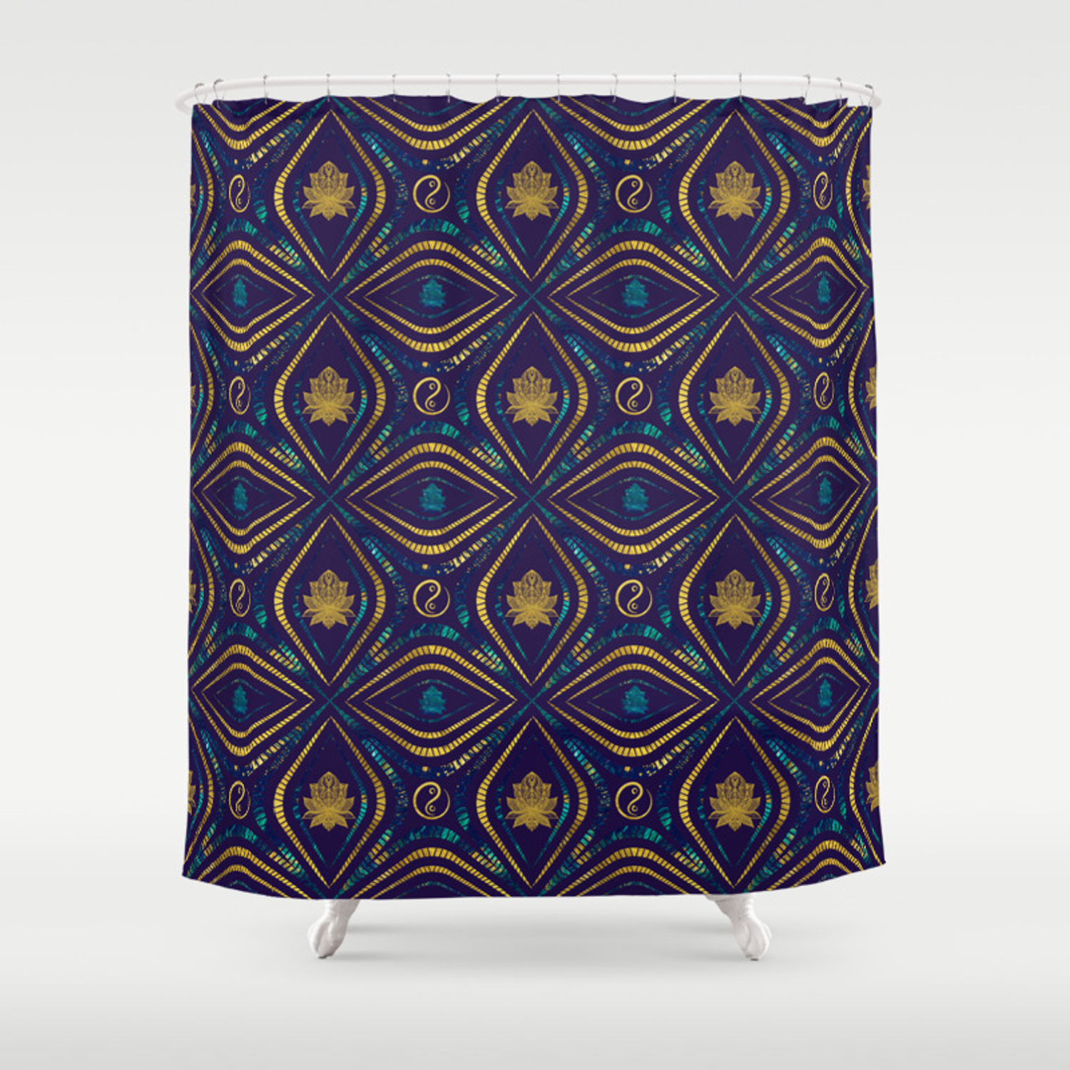 Lotus And Om Symbol Luxury Pattern Shower Curtain