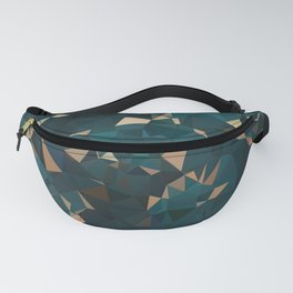 Gold Teal Abstract Low Poly Geometric Triangles Fanny Pack