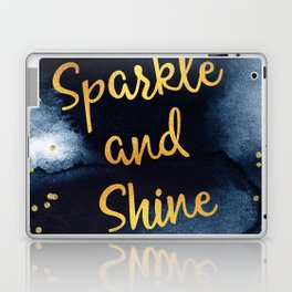 Sparkle And Shine Gold And Black Ink Typography Art Laptop & iPad Skin