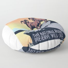 1936 The National Parks Preserve Wild Life Poster Floor Pillow