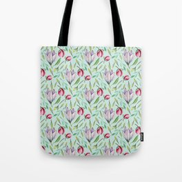 Pink green watercolor hand painted floral pattern Tote Bag
