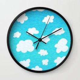 Happy Little Clouds Wall Clock