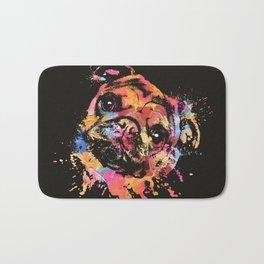 Pastel Paint Pug dog Bath Mat