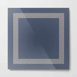 Blue and Tan Greek Key Pattern Border Metal Print