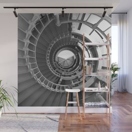 Gray's Harbor Lighthouse Stairwell Spiral Architecture Washington Nautical Coastal Black and White Wall Mural