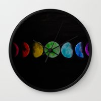 moon phases Wall Clocks featuring phases by Stella Joy